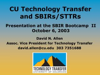 CU Technology Transfer and SBIRs/STTRs