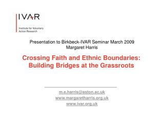 Crossing Faith and Ethnic Boundaries: Building Bridges at the Grassroots