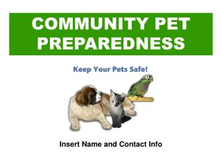 COMMUNITY PET PREPAREDNESS