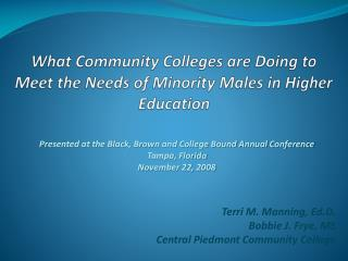 What Community Colleges are Doing to Meet the Needs of Minority Males in Higher Education