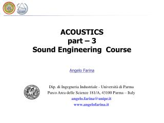 ACOUSTICS part – 3  Sound Engineering  Course