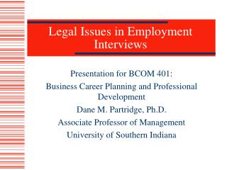 Legal Issues in Employment Interviews
