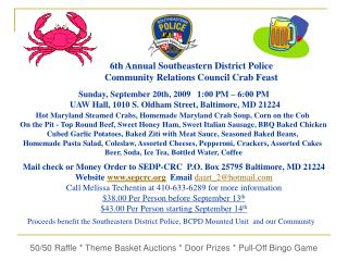 6th Annual Southeastern District Police  Community Relations Council Crab Feast