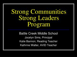 Strong Communities Strong Leaders Program