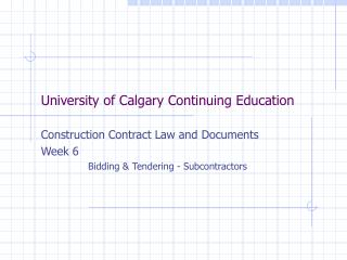 University of Calgary Continuing Education