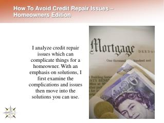 How To Avoid Credit Repair Issues – Homeowners Edition