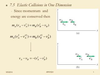 7.5  Elastic Collisions in One Dimension Since momentum  and  energy are conserved then
