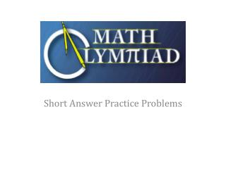 Short Answer Practice Problems