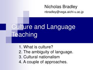 Culture and Language Teaching