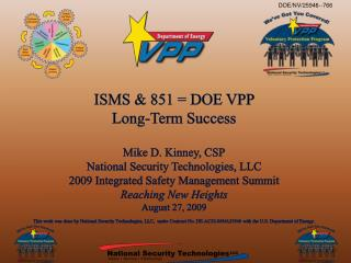 ISMS & 851 = DOE VPP  Long-Term Success