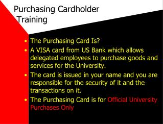 Purchasing Cardholder   Training