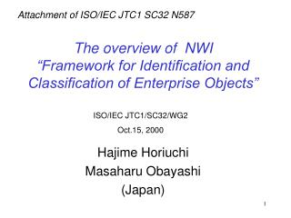 The overview of  NWI  Framework for Identification and Classification of Enterprise Objects