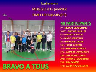 badminton MERCREDI 15 JANVIER SIMPLE BENJAMIN(ES)