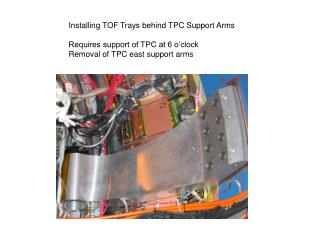 Installing TOF Trays behind TPC Support Arms Requires support of TPC at 6 o'clock