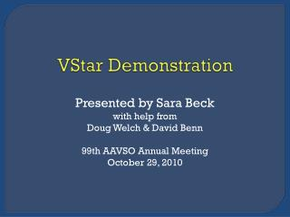 VStar  Demonstration