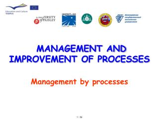MANAGEMENT AND IMPROVEMENT OF PROCESSES  Management by processes