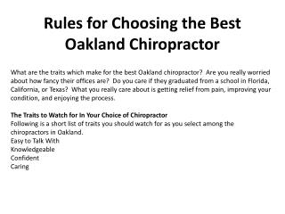 Rules for Choosing the Best Oakland Chiropractor