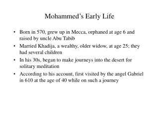 Mohammed's Early Life
