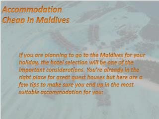 How to Choose a Accommodation Cheap in Maldives