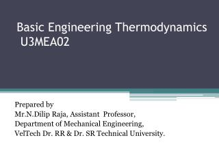 Basic Engineering Thermodynamics  U3MEA02