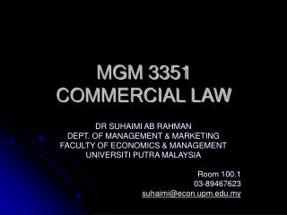 MGM 3351 COMMERCIAL LAW