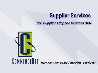 Supplier Services  SME Supplier Adoption Services BSN