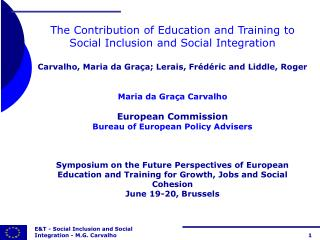 The Contribution of Education and Training to Social Inclusion and Social Integration