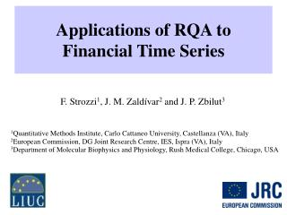 Applications of RQA to  Financial Time Series