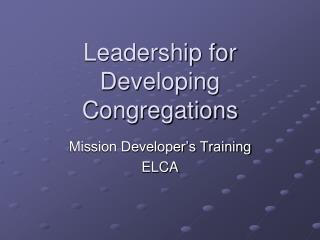 Leadership for Developing Congregations