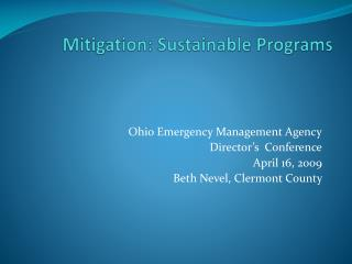 Mitigation: Sustainable Programs