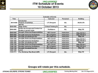 ITW Schedule of Events 10 October 2013