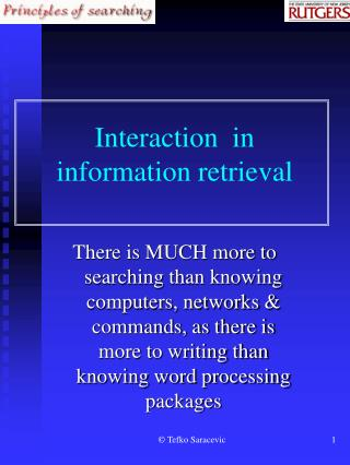 Interaction  in information retrieval