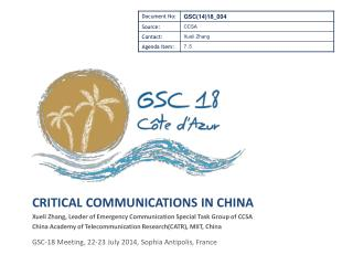 Critical Communications IN china