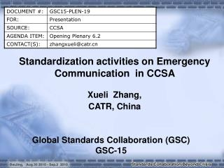 Standardization activities on Emergency Communication  in CCSA