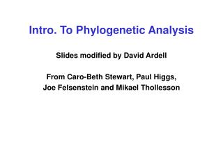 Intro. To Phylogenetic Analysis