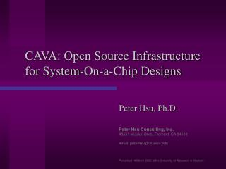 CAVA: Open Source Infrastructure for System-On-a-Chip Designs