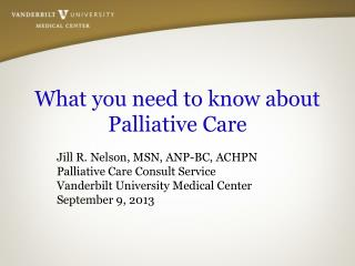 What you need to know about Palliative Care