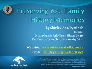 Preserving Your Family History Memories