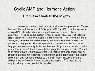 Cyclic AMP and Hormone Action