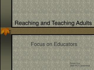 Reaching and Teaching Adults