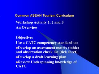 Common ASEAN Tourism Curriculum