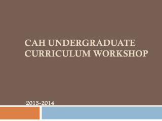 CAH Undergraduate Curriculum workshop
