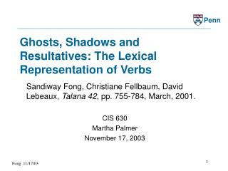 Ghosts, Shadows and Resultatives: The Lexical Representation of Verbs