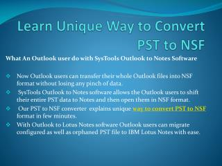 Way to Convert PST to NSF