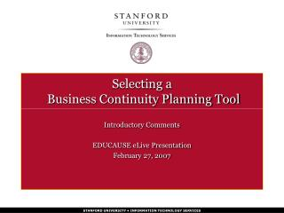 Selecting a  Business Continuity Planning Tool