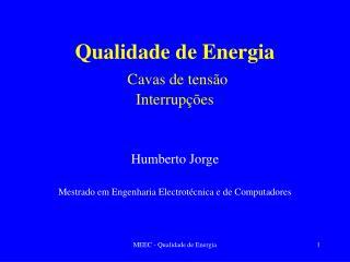 Qualidade de Energia Cavas de tensão Interrupções