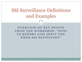 SSI Surveillance Definitions and Examples