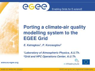 Porting a climate-air quality modelling system to the EGEE Grid