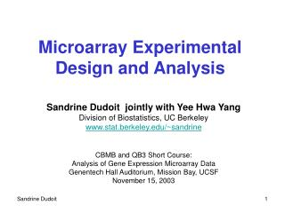 Microarray Experimental Design and Analysis