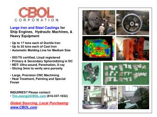 Large Iron and Steel Castings  for Ship Engines,  Hydraulic Machines, & Heavy Equipment